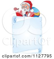 Cartoon Of Christmas Frame Of Santa Over A Frozen Parchment Scroll Royalty Free Vector Clipart by visekart