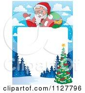 Cartoon Of Christmas Frame Of Santa Over A Winter Scene And Christmas Tree Border Royalty Free Vector Clipart
