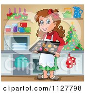 Cartoon Of A Happy Brunette Woman Baking Christmas Cookies Royalty Free Vector Clipart by visekart