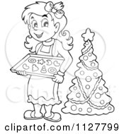Cartoon Of An Outlined Woman Holding Christmas Cookies By A Tree Royalty Free Vector Clipart by visekart