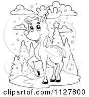 Cartoon Of An Outlined Christmas Reindeer In The Snow Royalty Free Vector Clipart