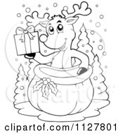 Cartoon Of An Outlined Christmas Reindeer Holding A Gift Over A Sack Royalty Free Vector Clipart