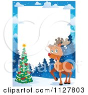 Cartoon Of A Christmas Reindeer And Tree Frame Royalty Free Vector Clipart