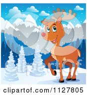 Cartoon Of A Cute Red Nosed Reindeer In The Snow Royalty Free Vector Clipart