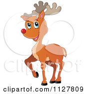Cartoon Of A Cute Red Nosed Reindeer Royalty Free Vector Clipart by visekart