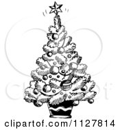 Cartoon Of A Sketched Black And White Christmas Tree Royalty Free Vector Clipart by visekart