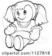 Cartoon Of An Outlined Toy Doll Royalty Free Vector Clipart by visekart