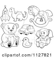 Cartoon Of Outlined Toys Royalty Free Vector Clipart by visekart
