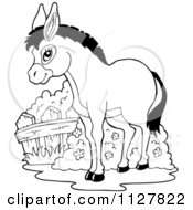 Cartoon Of An Outlined Cute Donkey Royalty Free Vector Clipart by visekart