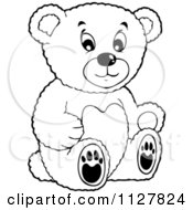 Cartoon Of An Outlined Toy Teddy Bear Royalty Free Vector Clipart by visekart