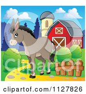 Cartoon Of A Cute Donkey Near A Barn Royalty Free Vector Clipart by visekart