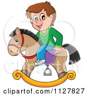 Cartoon Of A Boy Playing On A Toy Rocking Horse Royalty Free Vector Clipart by visekart