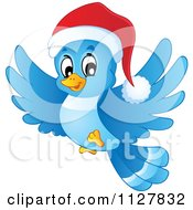 Cartoon Of A Flying Christmas Blue Bird Wearing A Santa Hat Royalty Free Vector Clipart by visekart