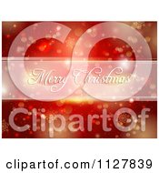 Clipart Of A Merry Christmas Greeting Over Red Bokeh Lights And Snowflakes Royalty Free Vector Illustration by KJ Pargeter