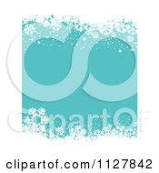 Clipart Of A Turquoise Christmas Background With Winter Snowflake Borders Royalty Free Vector Illustration by KJ Pargeter