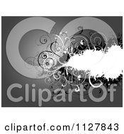 Clipart Of A Grayscale Monochrom Background Of Floral Grungy Vines And Copyspace Royalty Free Vector Illustration by KJ Pargeter