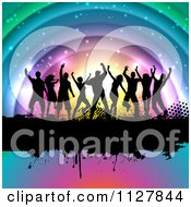 Clipart Of Silhouetted Dancers On A Grunge Bar Over Colorful Arches Royalty Free Vector Illustration