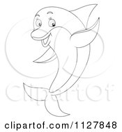 Cartoon Of An Outlined Cute Dolphin Jumping And Waving Royalty Free Clipart by Alex Bannykh