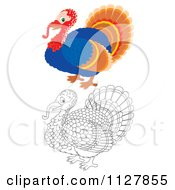 Cartoon Of Outlined And Colored Cute Thanksgiving Turkey Birds Royalty Free Clipart by Alex Bannykh