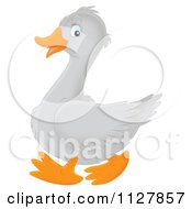 Cartoon Of A Cute Goose In Profile Royalty Free Clipart