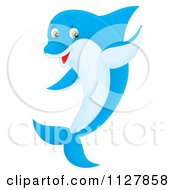 Cartoon Of A Blue Cute Dolphin Jumping And Waving Royalty Free Clipart by Alex Bannykh