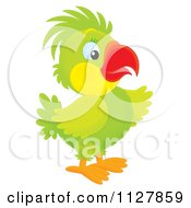Cartoon Of A Cute Green Parrot Pointing Royalty Free Clipart