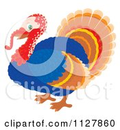 Cartoon Of A Cute Thanksgiving Turkey Bird Royalty Free Clipart by Alex Bannykh