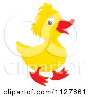 Cartoon Of A Cute Duckling In Profile Royalty Free Clipart
