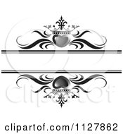Clipart Of Gray Crowned Hearts And Waves With Copyspace Royalty Free Vector Illustration by Lal Perera