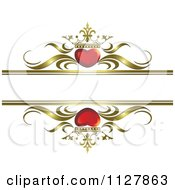 Clipart Of Red Crowned Hearts And Gold Waves With Copyspace 1 Royalty Free Vector Illustration