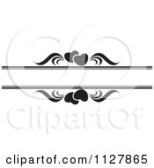 Clipart Of Black And White Hearts And Waves With Copyspace Royalty Free Vector Illustration