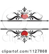 Clipart Of Red Crowned Hearts And Waves With Copyspace Royalty Free Vector Illustration by Lal Perera