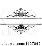 Clipart Of Black And White Crowned Hearts And Waves With Copyspace Royalty Free Vector Illustration by Lal Perera