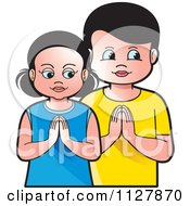Clipart Of A Boy And Girl Praying Royalty Free Vector Illustration by Lal Perera