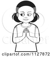 Clipart Of A Black And White Girl Praying Royalty Free Vector Illustration by Lal Perera