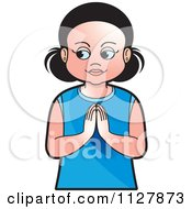 Clipart Of A Girl Praying Royalty Free Vector Illustration