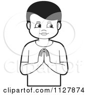 Clipart Of A Black And White Boy Praying Royalty Free Vector Illustration