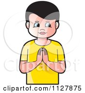 Clipart Of A Boy Praying Royalty Free Vector Illustration by Lal Perera