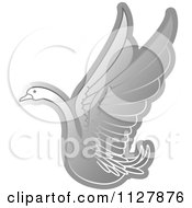 Clipart Of A Silver Swan Flying Royalty Free Vector Illustration by Lal Perera