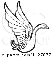 Clipart Of A Black And White Swan Flying 2 Royalty Free Vector Illustration by Lal Perera