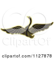 Clipart Of A Gold Swan Flying 1 Royalty Free Vector Illustration by Lal Perera