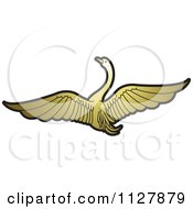 Clipart Of A Gold Swan Flying 2 Royalty Free Vector Illustration by Lal Perera
