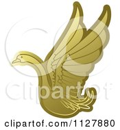 Clipart Of A Gold Swan Flying 3 Royalty Free Vector Illustration by Lal Perera