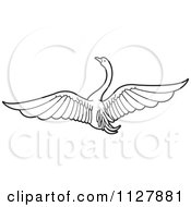 Clipart Of A Black And White Swan Flying 1 Royalty Free Vector Illustration by Lal Perera