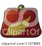 Clipart Of A Red And Gold Wing Coin Purse Royalty Free Vector Illustration by Lal Perera