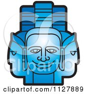 Clipart Of Blue Indian God Faces Royalty Free Vector Illustration