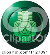 Clipart Of A Green Indian God Faces Icon Royalty Free Vector Illustration
