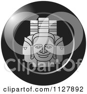 Clipart Of A Grayscale Indian God Faces Icon Royalty Free Vector Illustration