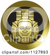 Clipart Of A Golden Indian God Faces Icon Royalty Free Vector Illustration