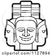 Clipart Of Outlined Indian God Faces Royalty Free Vector Illustration